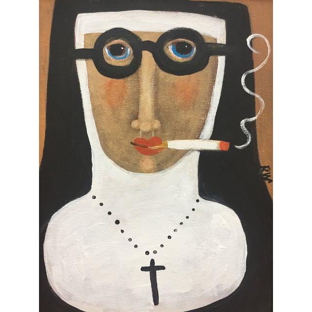 """""""Smoking Nun"""" Contemporary Folk Painting - Image 4 of 5"""
