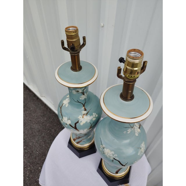 Vintage 1960s Japanese Hand Painted and Brass Lamps - a Pair For Sale In Orlando - Image 6 of 7