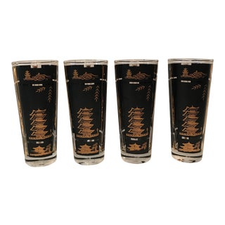 Japanese Black and Gold Tom Collins Glasses - Set of 4 For Sale