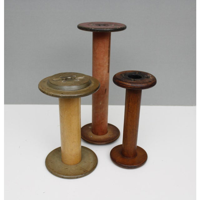 3 Vintage Wooden Thread Spools Bobbins Industrial Antique Instant Collection