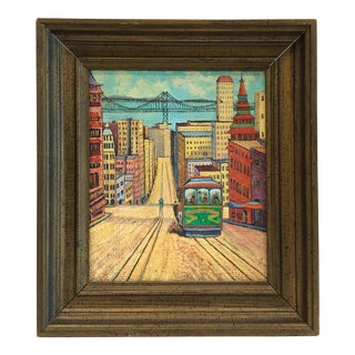 1964 San Francisco on Burlap Painting For Sale