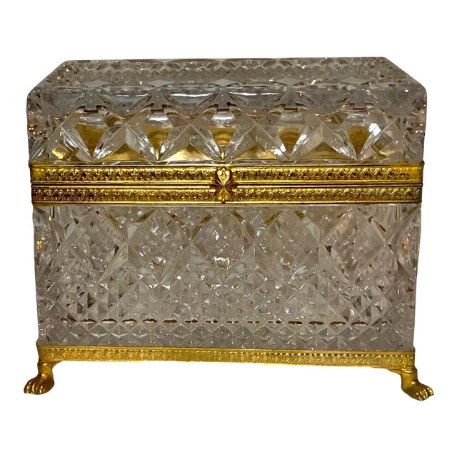 Mid-Century French Large Crystal Box For Sale