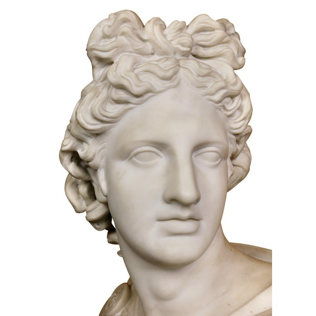 Bauhaus Italian White Marble Bust of Apollo Belvedere With Bauhaus Design Pedestal Base For Sale - Image 3 of 9