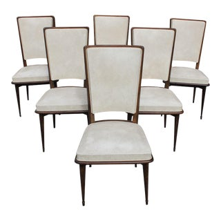 Classic French Art Deco Solid Mahogany Dining Chairs Circa 1940s