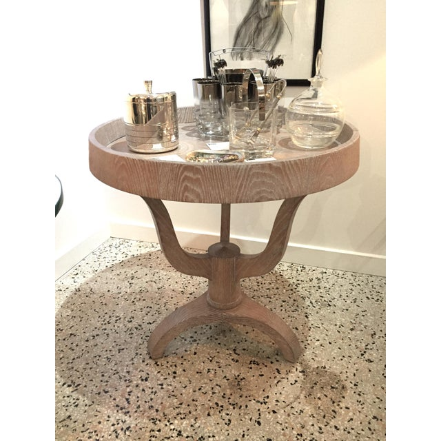 Rose Tarlow for Melrose House Side Table Restored and Cerused from a Palm Beach estate. Signature tag on verso. This...