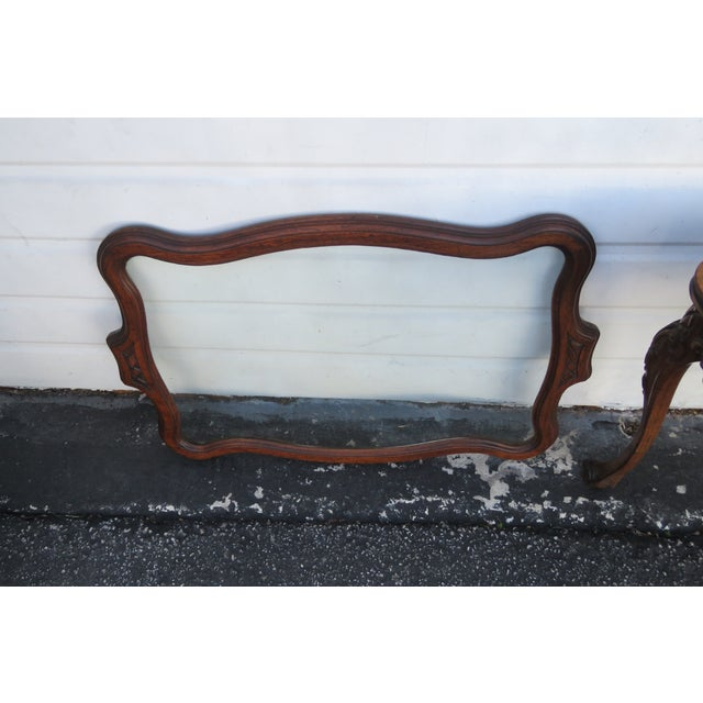 Wood Early 1900s Hand Carved Violin Inlay Coffee Table With Serving Glass Tray For Sale - Image 7 of 12