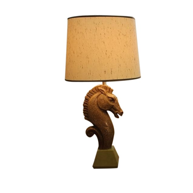 Equestrian Ceramic Lamp and Shade For Sale