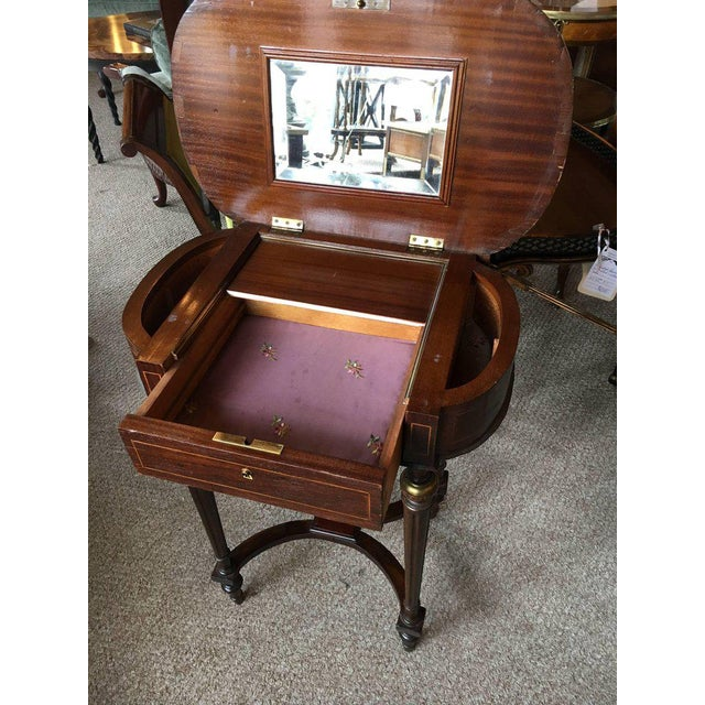 Antique Inlaid Floral Writing Desk or Vanity with Bronze Mounts For Sale - Image 9 of 10