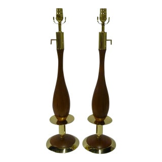 Pair of Walnut and Brass Stylized Candlestick Mid-Century Table Lamps