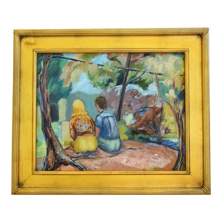 Midcentury Relaxing Summer Under the Trees Oil Painting For Sale