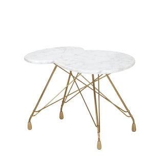 Nuage De Etoiles Bronze Side Table with Carrara Marble Top For Sale