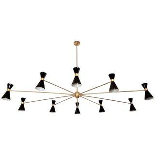 Oval Brass & Enamel Italian Campana Chandelier For Sale