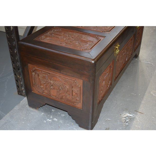 1950s Vintage Chinese Rosewood Hand Carved Camphor Interior Trunk For Sale - Image 4 of 9