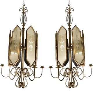 Italian Etched Mirror Panel Hanging Candlestick Lights - a Pair For Sale