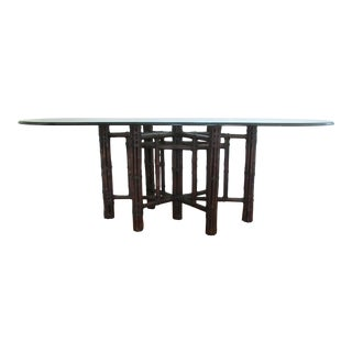 McGuire Boho Chic Leather-Strapped Bamboo Rattan Dining Table For Sale