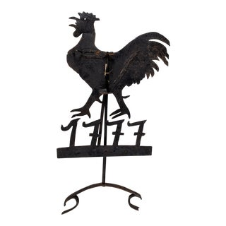 19th-Century Early American Sheet Iron Rooster Weathervane For Sale