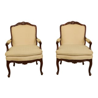 1980s Bernhardt French Louis XV Style Open Armchairs - a Pair For Sale