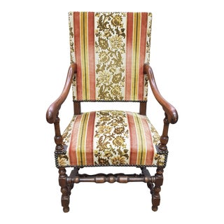 Late 19th Century Antique Chippendale Style Walnut Armchair For Sale
