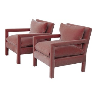 Milo Baughman Parsons Chairs Reupholstered in Pink Velvet - a Pair