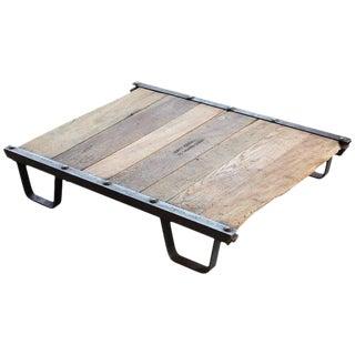 Vintage Industrial Steel and Wood Skid Platform, Low Coffee Table For Sale