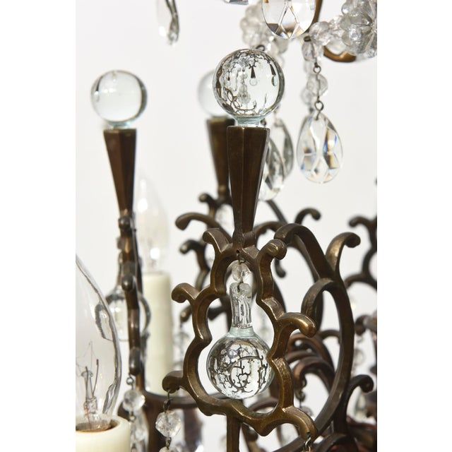 Bohemian Bronze and Crystal Eight Light Chandelier For Sale - Image 4 of 6