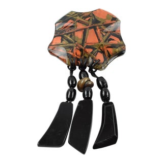 Anne & Frank Vigneri Lucite Resin Pin Brooch With Dangling Charms For Sale