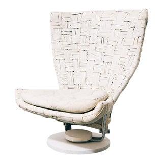 Marzio Cecchi Woven Leather Swivel Chair For Sale
