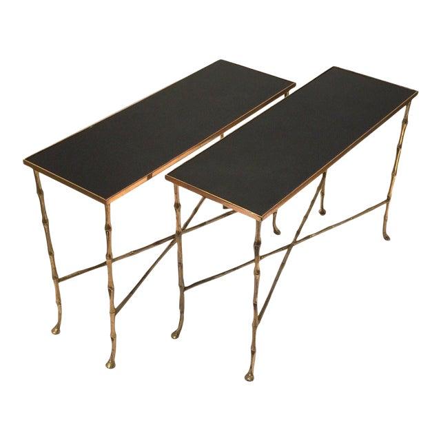 Hollywood Regency Gilt Bamboo Tables - a Pair For Sale
