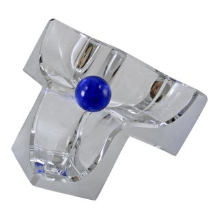 Daum France Post Modern Crystal Three Cube Bowl For Sale