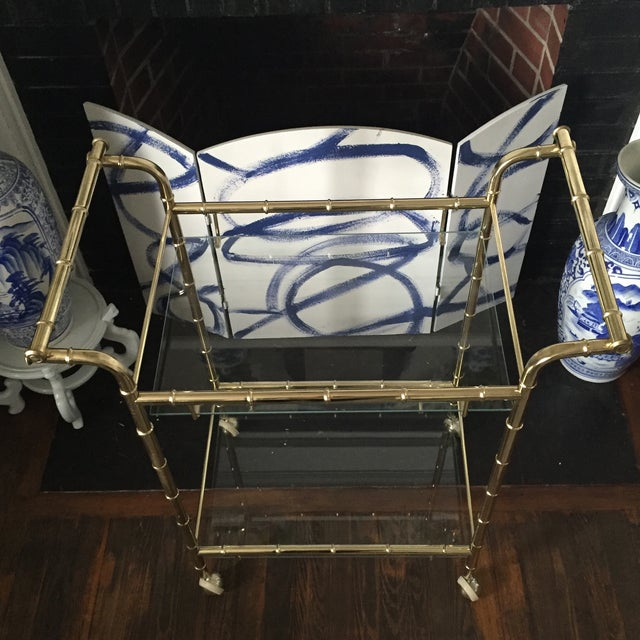 Hollywood Regency Brass Faux Bamboo & Glass Rolling Bar Cart - Image 8 of 11