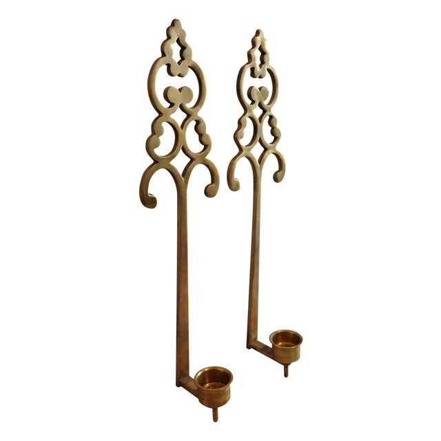 Brass Wall Candle Holder Sconces - Pair - Image 1 of 7