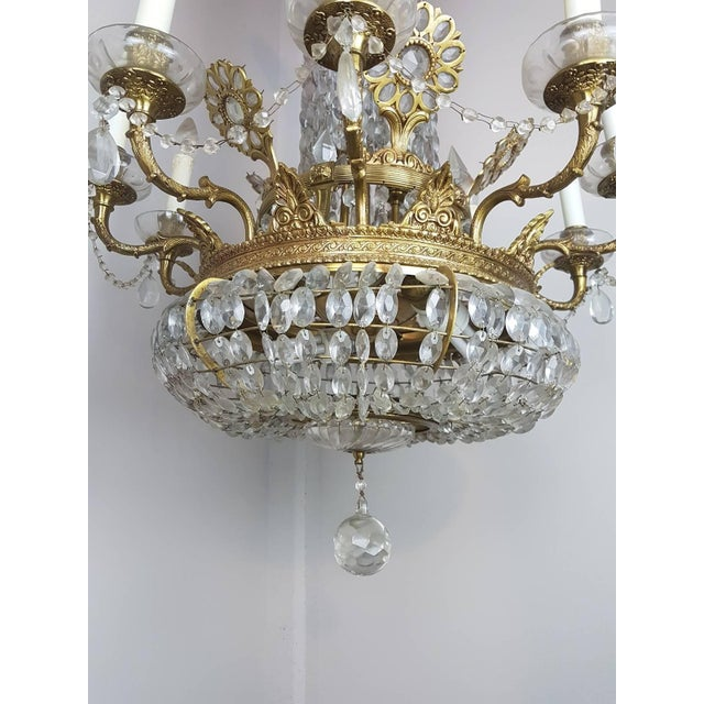 Late 19th Century 19th Century French Empire Style Gilded Bronze and Crystals Chandelier For Sale - Image 5 of 10