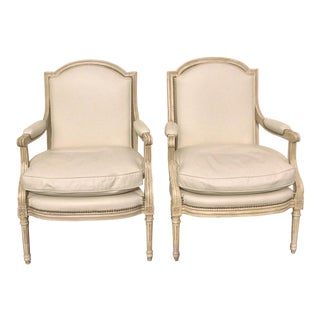 White Painted French Leather Arm Chairs - a Pair For Sale