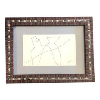 Original Vintage Robert Cooke Miniature Abstract Ink Drawing Vintage Frame 1970's For Sale