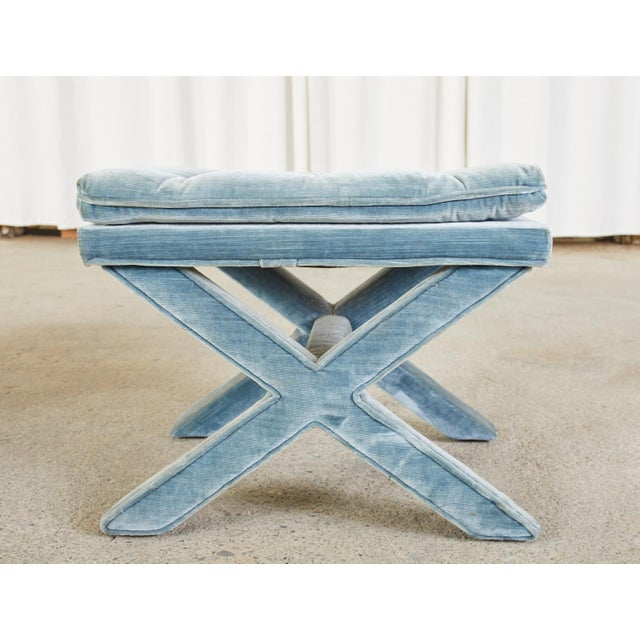 Wood Pair of Billy Baldwin Style X Base Tufted Blue Velvet Benches For Sale - Image 7 of 13