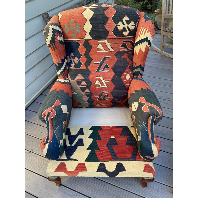 Kilim Wingback Chairs - a Pair For Sale - Image 10 of 13
