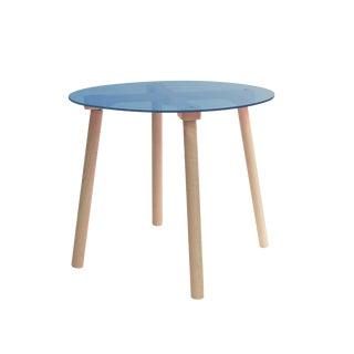 "Ac/Bc Small Round 23.5"" Kids Table in Maple With Blue Acrylic Top For Sale"