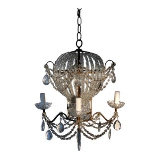 French Beaded Crystal Hot Air Balloon Chandelier For Sale