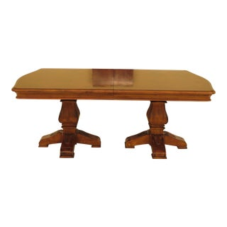 Ethan Allen Parquet Top Walnut Dining Room Table