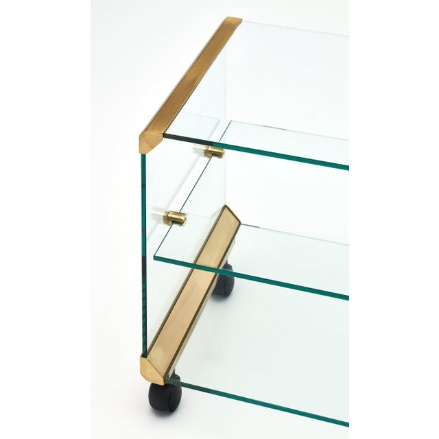 Modernist Glass and Brass Side Table For Sale - Image 4 of 10