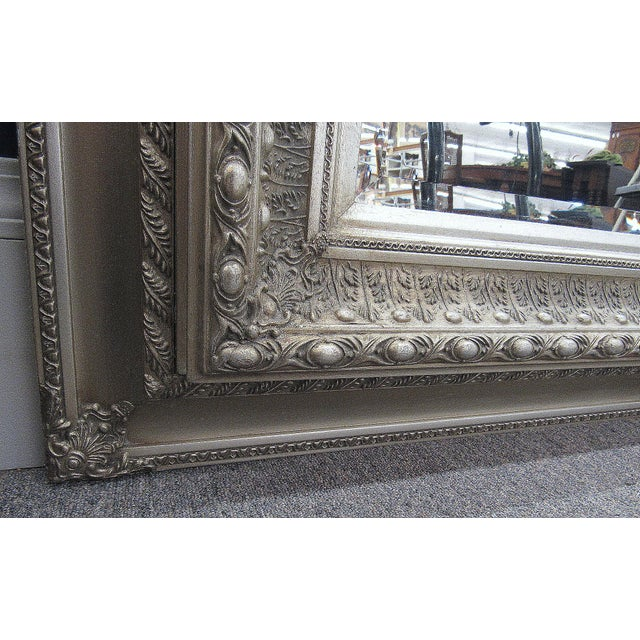 """Glass 89"""" High Silver Gilded Beveled Glass Floor Mirror For Sale - Image 7 of 12"""