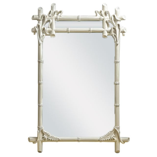 Vintage Wood Faux Bamboo Mirror For Sale - Image 12 of 12