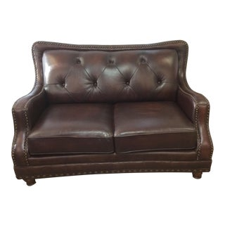 1990s Vintage Cordovan Leather Loveseat For Sale