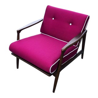 Mid Century Curated Danish Walnut Lounge Chair For Sale