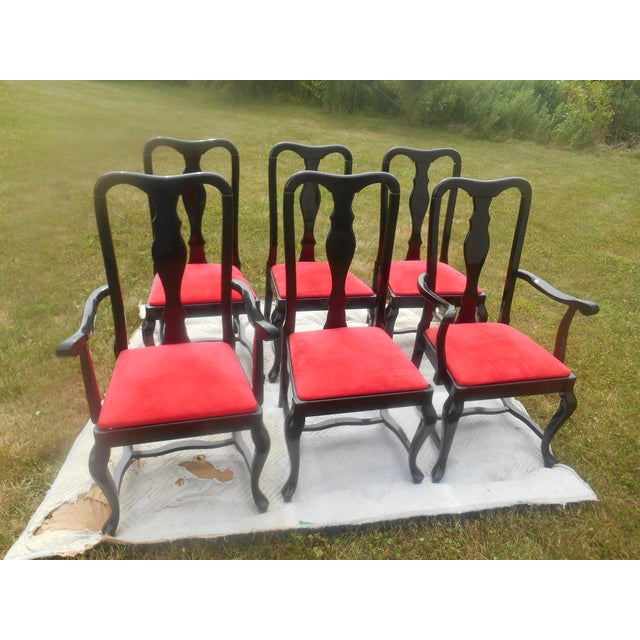 Gorgeous Set of 6 Sculptural Black Lacquer & Red Suede Dining Chairs made in Italy probably by Pietro Costantini. The...