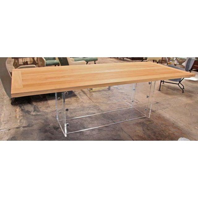 """Spirit"" Burma Teak Table with Plexi Base For Sale - Image 4 of 9"