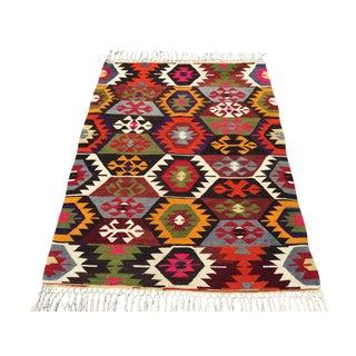 Vintage Turkish Kilim Rug - 3′4″ × 4′4″ For Sale