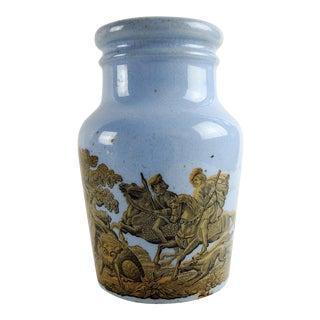 Antique English Blue Porcelain Prattware Jar For Sale