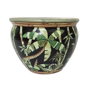 "Vintage Fishbowl Planter Tropical Jungle Planter 7"" Ceramic Planter"