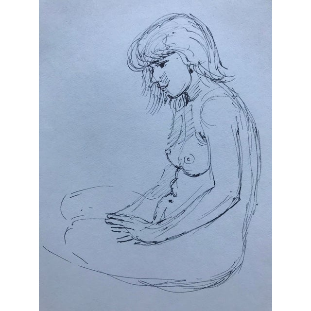 Figurative Mid-Century Modern Female Nude Drawing For Sale - Image 3 of 3